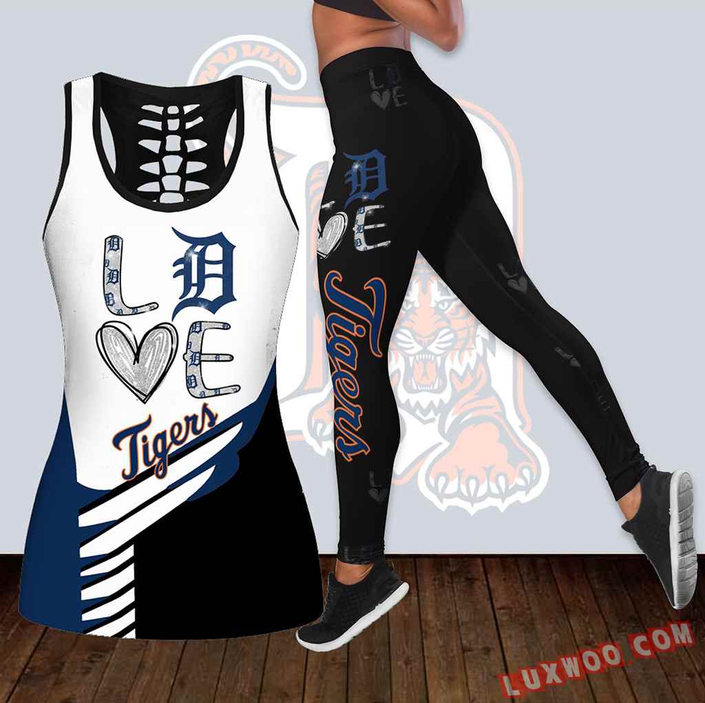 Combo Detroit Tigers Love Hollow Tanktop Legging Set Outfit K1877