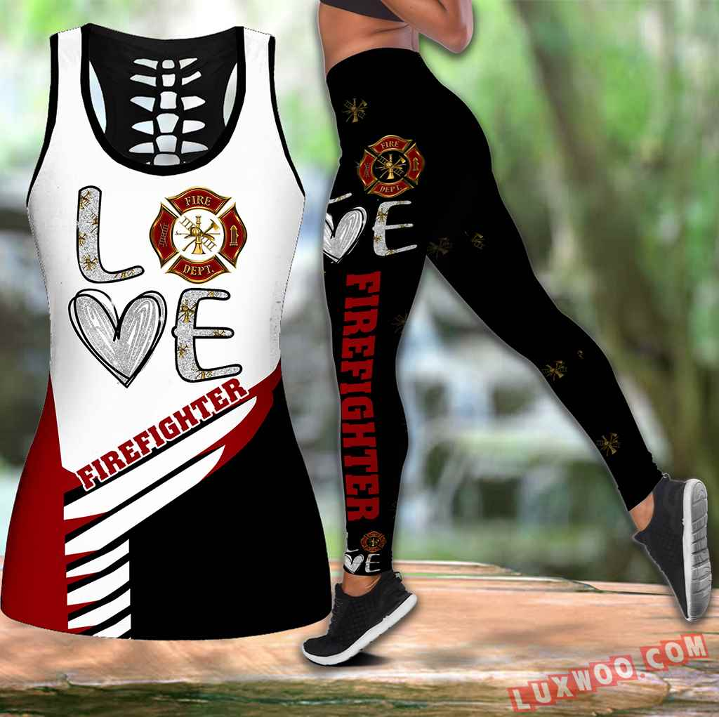 Combo Firefighter Love Hollow Tanktop Legging Set Outfit K2024