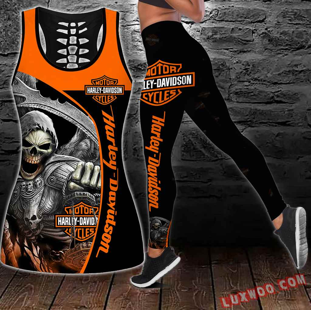 Combo Harley Davidson Hollow Tanktop Legging Set Outfit S1056