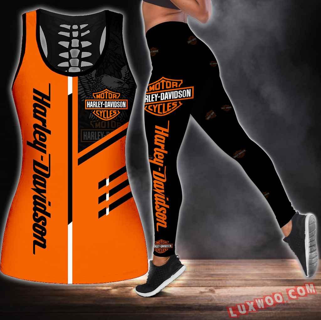 Combo Harley Davidson Hollow Tanktop Legging Set Outfit S1256