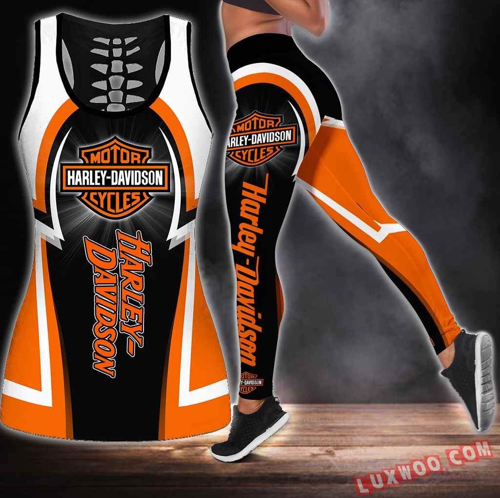 Combo Harley Davidson Hollow Tanktop Legging Set Outfit S1276