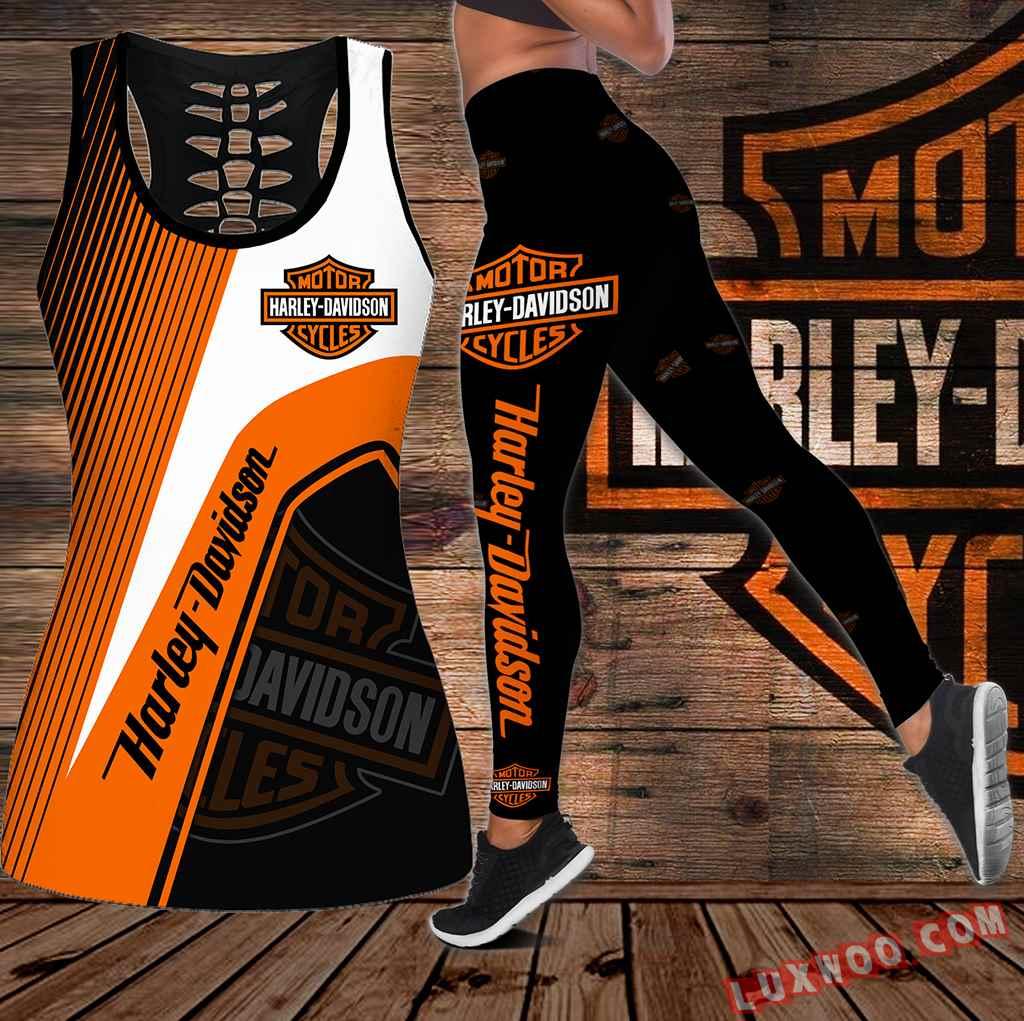 Combo Harley Davidson Motor Cycles Hollow Tanktop Legging Set Outfit K1963