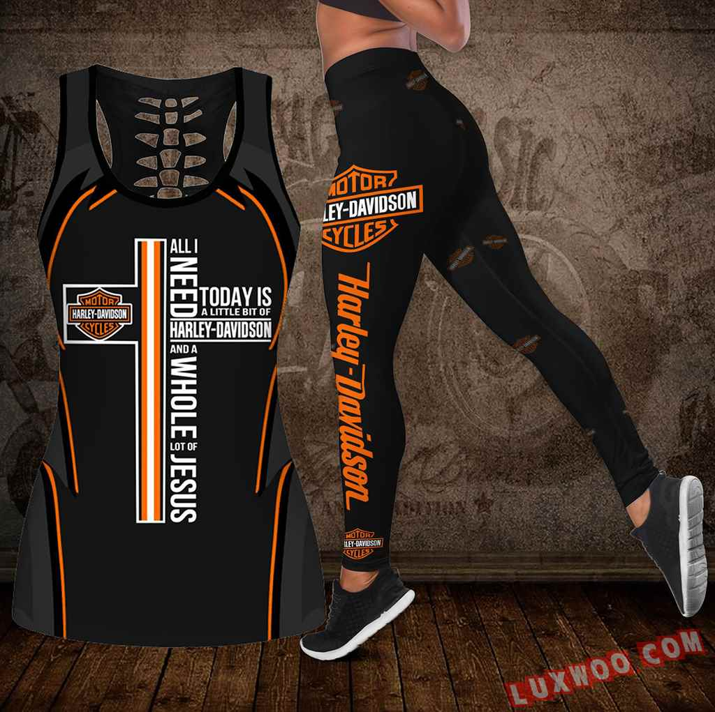 Combo Harley Davidson New Cross Hollow Tanktop Legging Set Outfit K2020