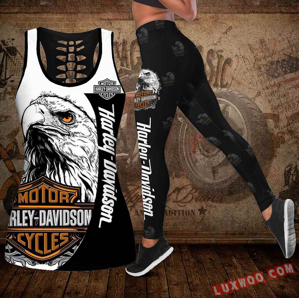Combo Harley Davidson New Eagle Hollow Tanktop Legging Set Outfit K1938