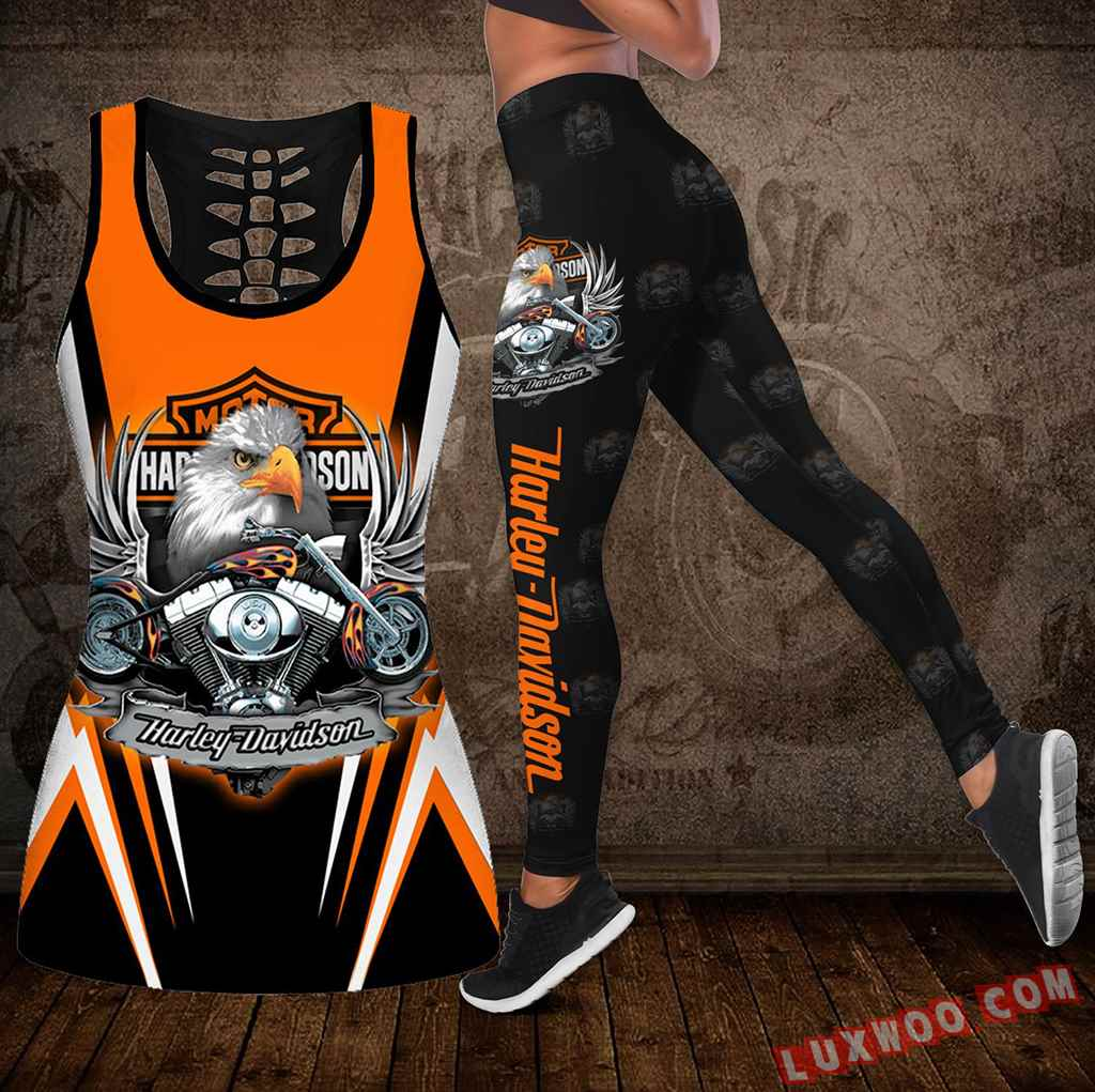 Combo Harley Davidson New Eagle Hollow Tanktop Legging Set Outfit K2006