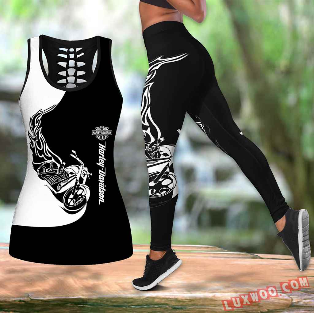 Combo Harley Davidson New Hollow Tanktop Legging Set Outfit K1530