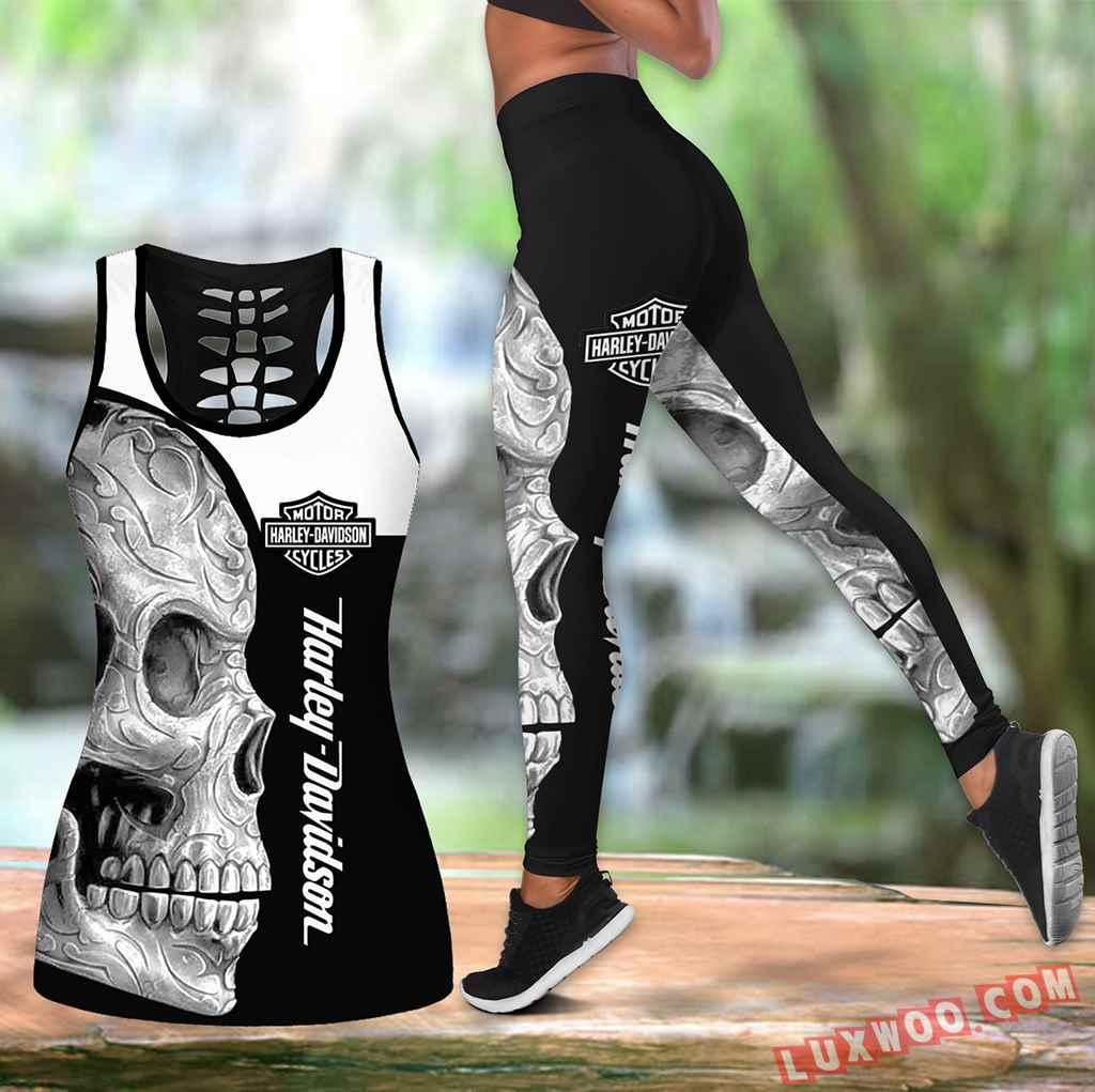 Combo Harley Davidson New Skull Black And White Hollow Tanktop Legging Set Outfit K1443