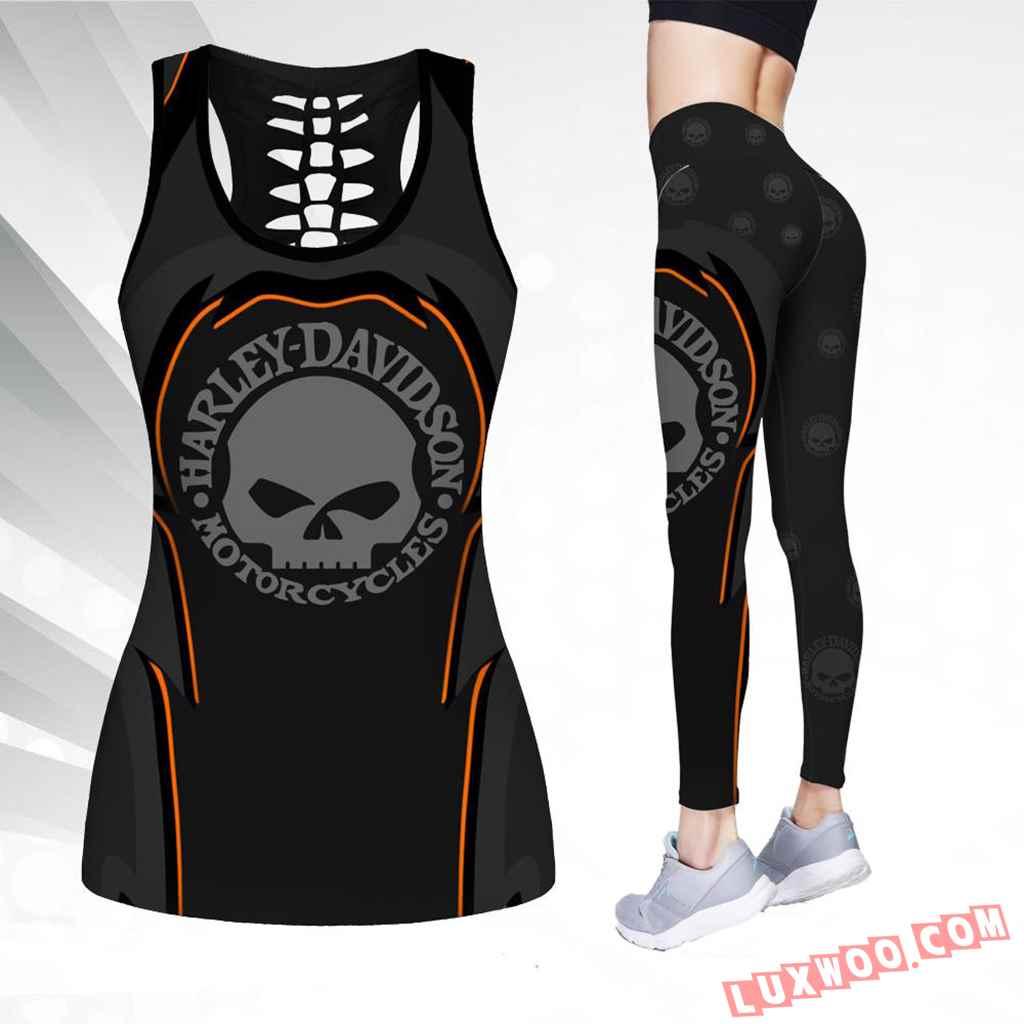 Combo Harley Davidson New Skull Black Hollow Tanktop Legging Set Outfit K1553