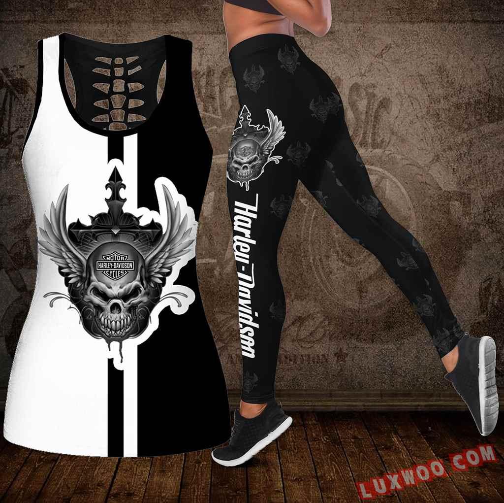 Combo Harley Davidson New Skull Hollow Tanktop Legging Set Outfit K1969