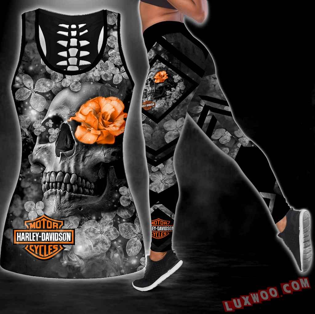 Combo Harley Davidson Skull Flower Hollow Tanktop Legging Set Outfit S1080