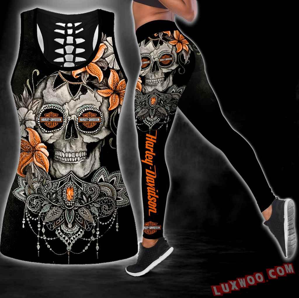 Combo Harley Davidson Skull Flower Hollow Tanktop Legging Set Outfit S1081