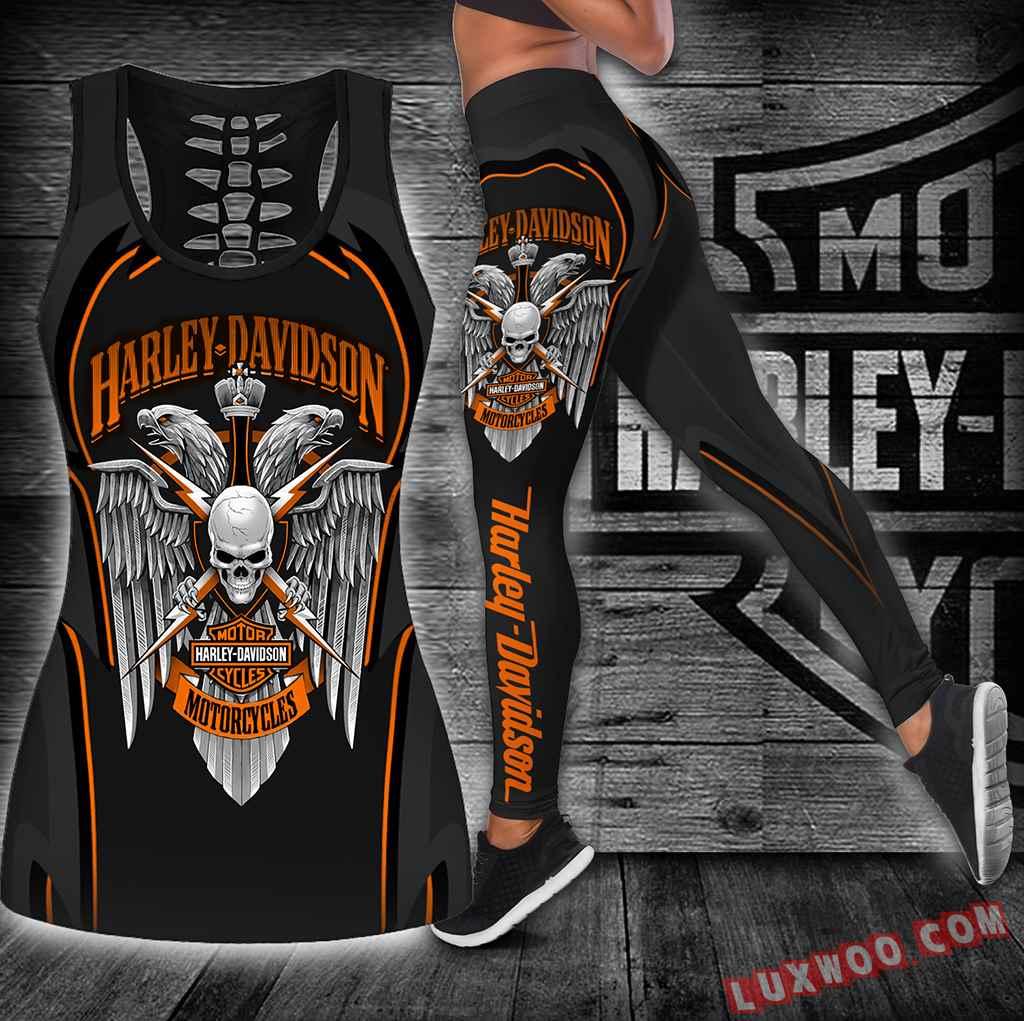 Combo Harley Davidson Skull Hollow Tanktop Legging Set Outfit K1904