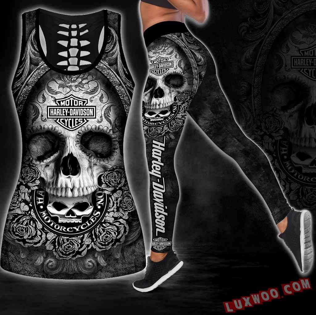 Combo Harley Davidson Skull Hollow Tanktop Legging Set Outfit S1065