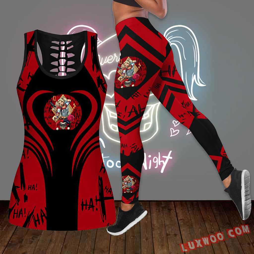 Combo Harley Quinn Hollow Tanktop Legging Set Outfit K1657