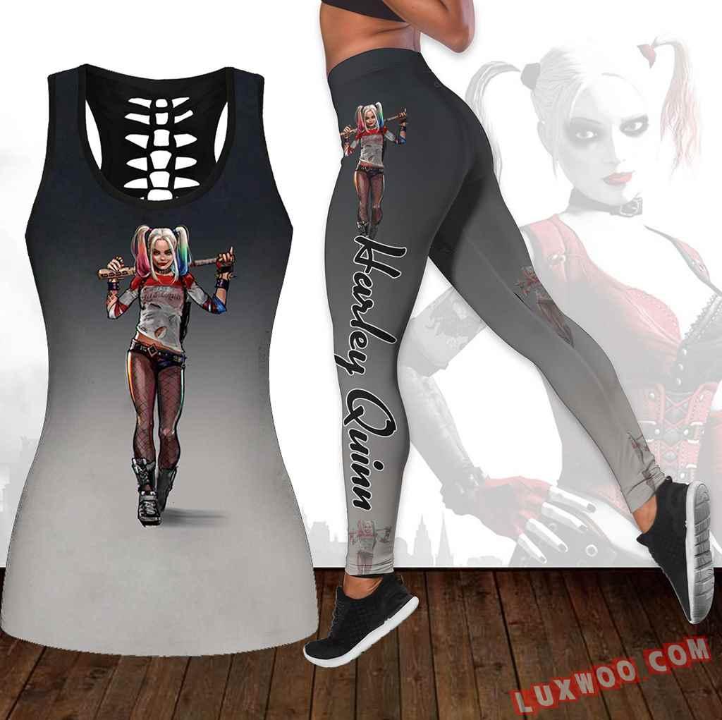 Combo Harley Quinn Hollow Tanktop Legging Set Outfit K1668