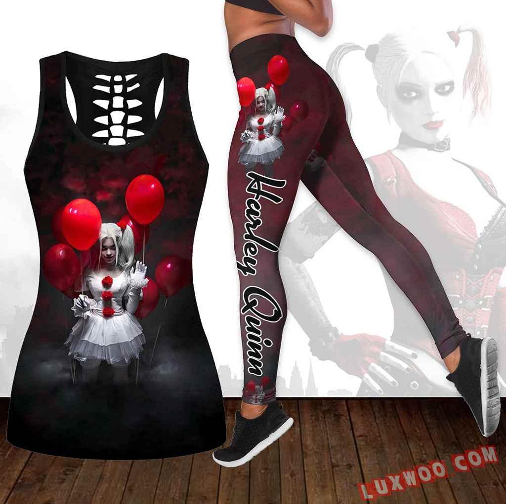Combo Harley Quinn Hollow Tanktop Legging Set Outfit K1673