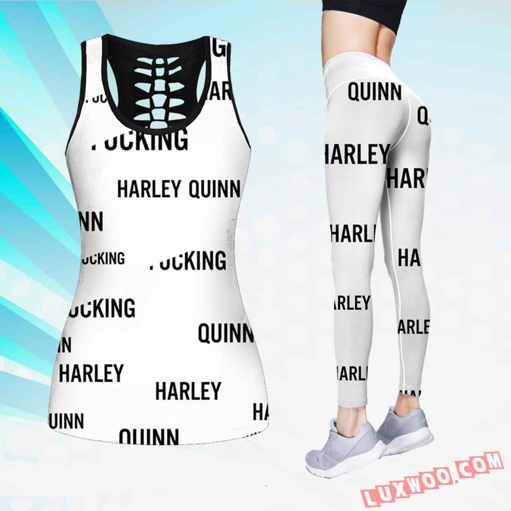 Combo Harley Quinn Hollow Tanktop Legging Set Outfit V1700