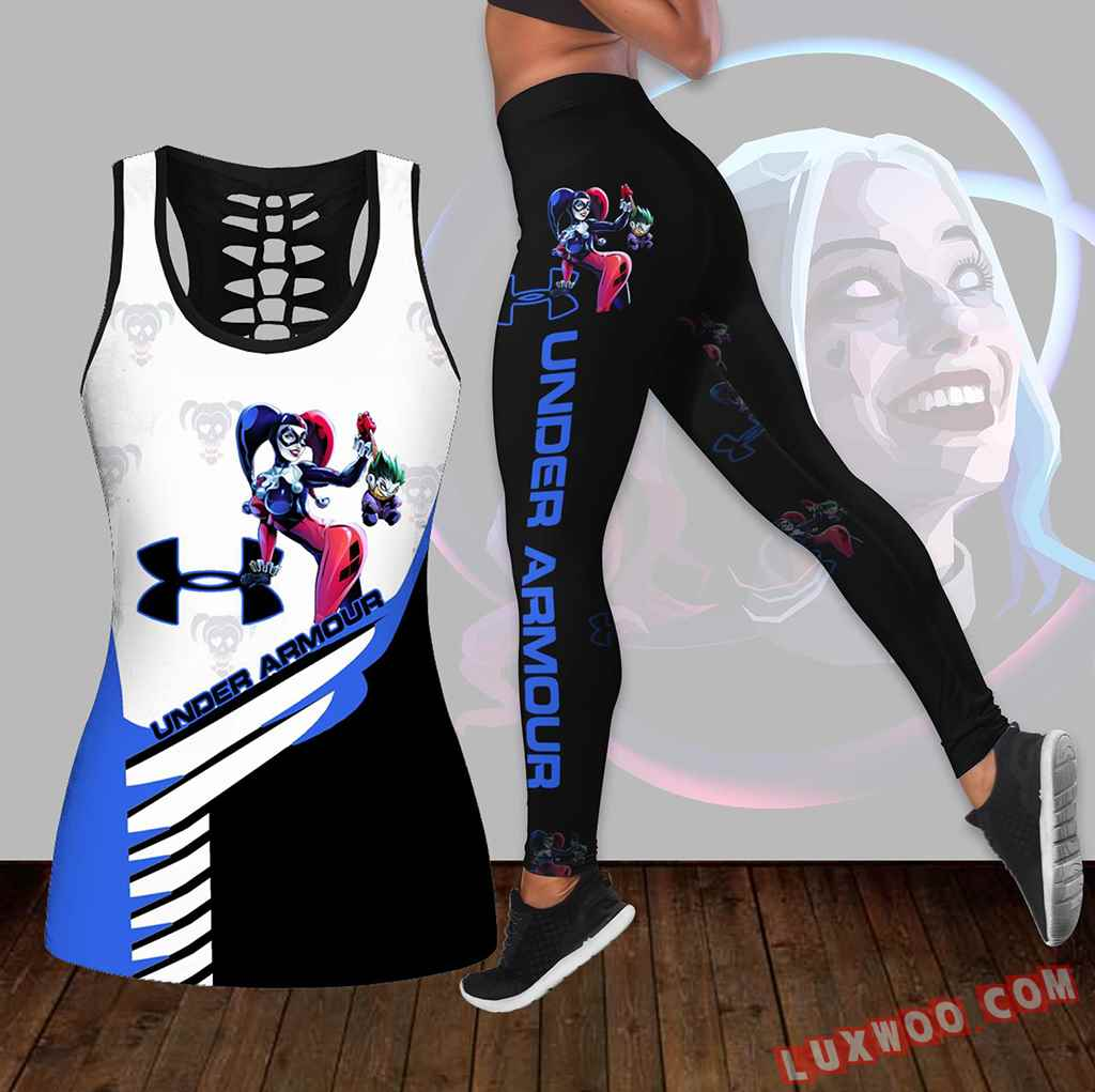Combo Harley Quinn Under Armour Hollow Tanktop Legging Set Outfit K1655
