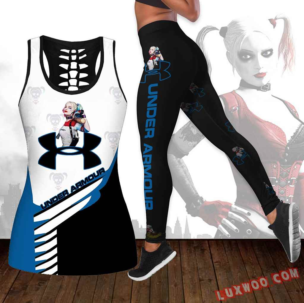 Combo Harley Quinn Under Armour Hollow Tanktop Legging Set Outfit K1658