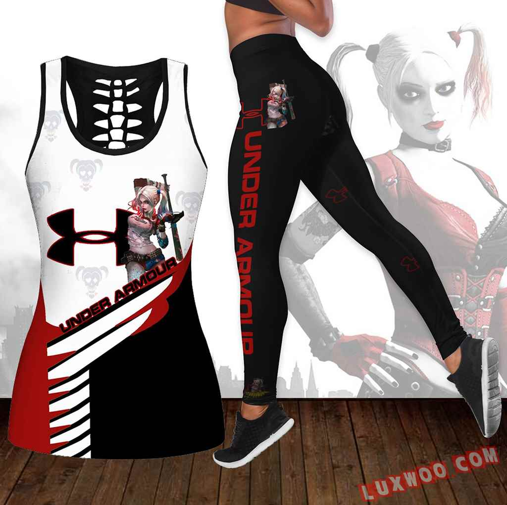 Combo Harley Quinn Under Armour Hollow Tanktop Legging Set Outfit K1660
