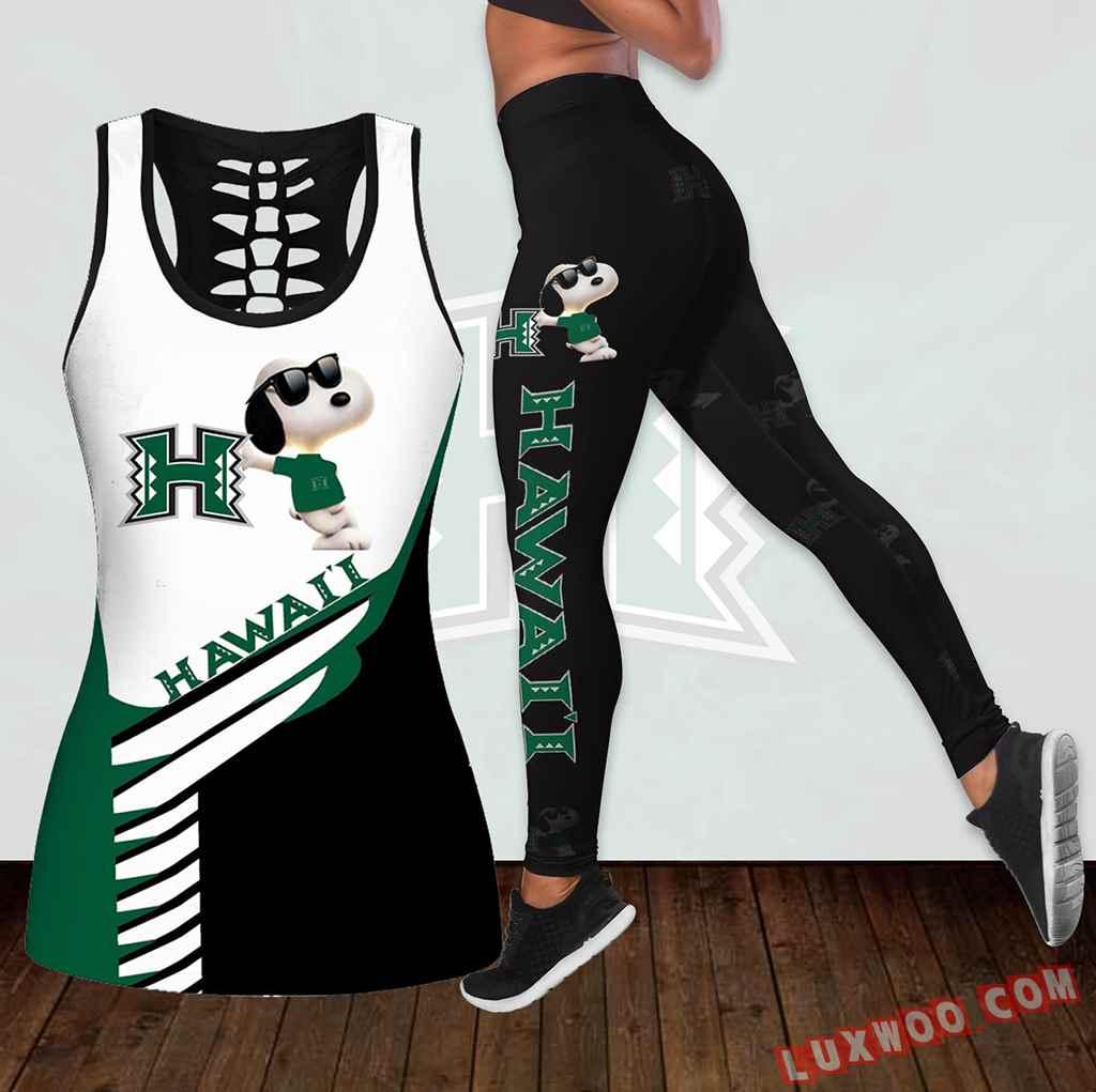 Combo Hawaii Rainbow Warriors Snoopy Hollow Tanktop Legging Set Outfit K1794