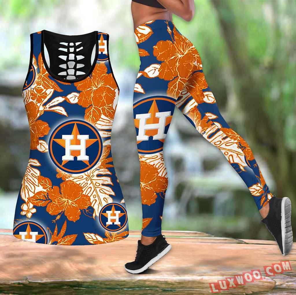 Combo Houston Astros Blue Hawaiian Tropical Flower Hollow Tanktop Legging Set Outfit V1576