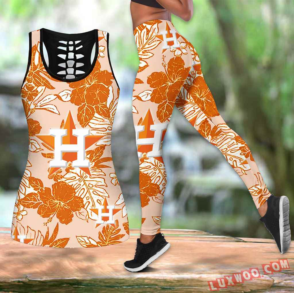 Combo Houston Astros Hawaiian Tropical Flower Hollow Tanktop Legging Set Outfit V1575