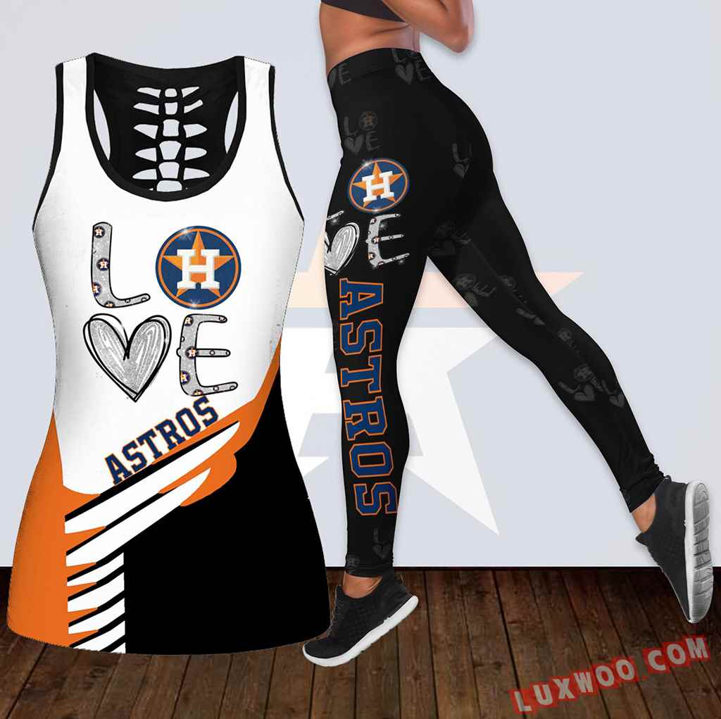 Combo Houston Astros Love Hollow Tanktop Legging Set Outfit K1881