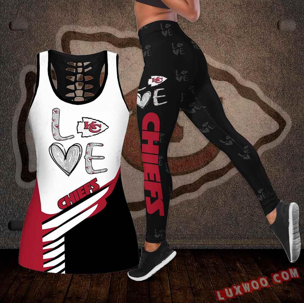 Combo Kansas City Chiefs Love Hollow Tanktop Legging Set Outfit K1915