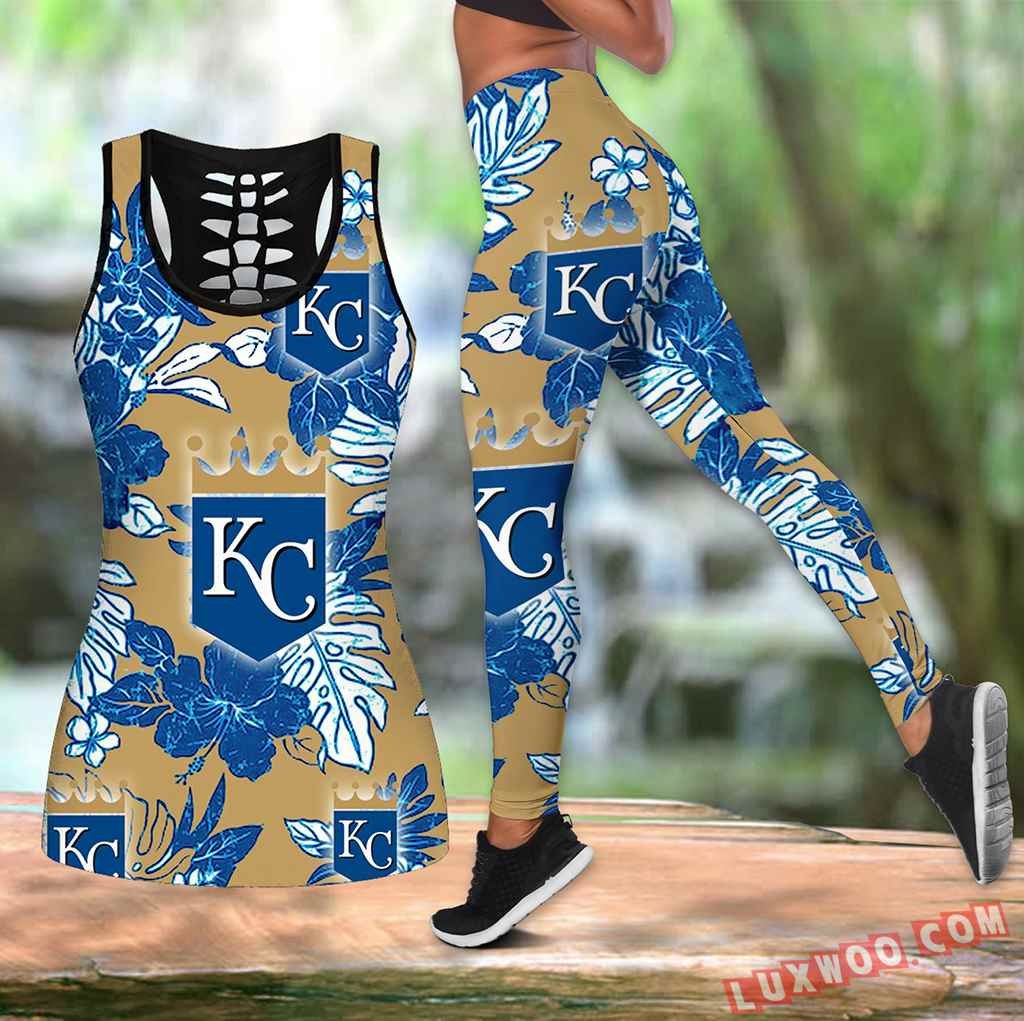 Combo Kansas City Royals Hawaiian Tropical Flower Hollow Tanktop Legging Set Outfit K1538