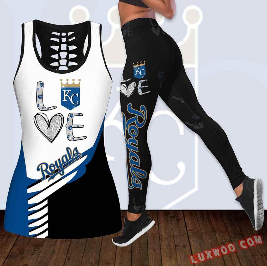 Combo Kansas City Royals Love Hollow Tanktop Legging Set Outfit K1836