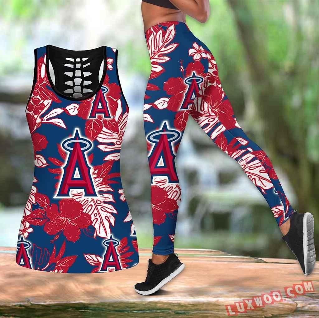 Combo Los Angeles Angels Hawaiian Tropical Flower Hollow Tanktop Legging Set Outfit K1540