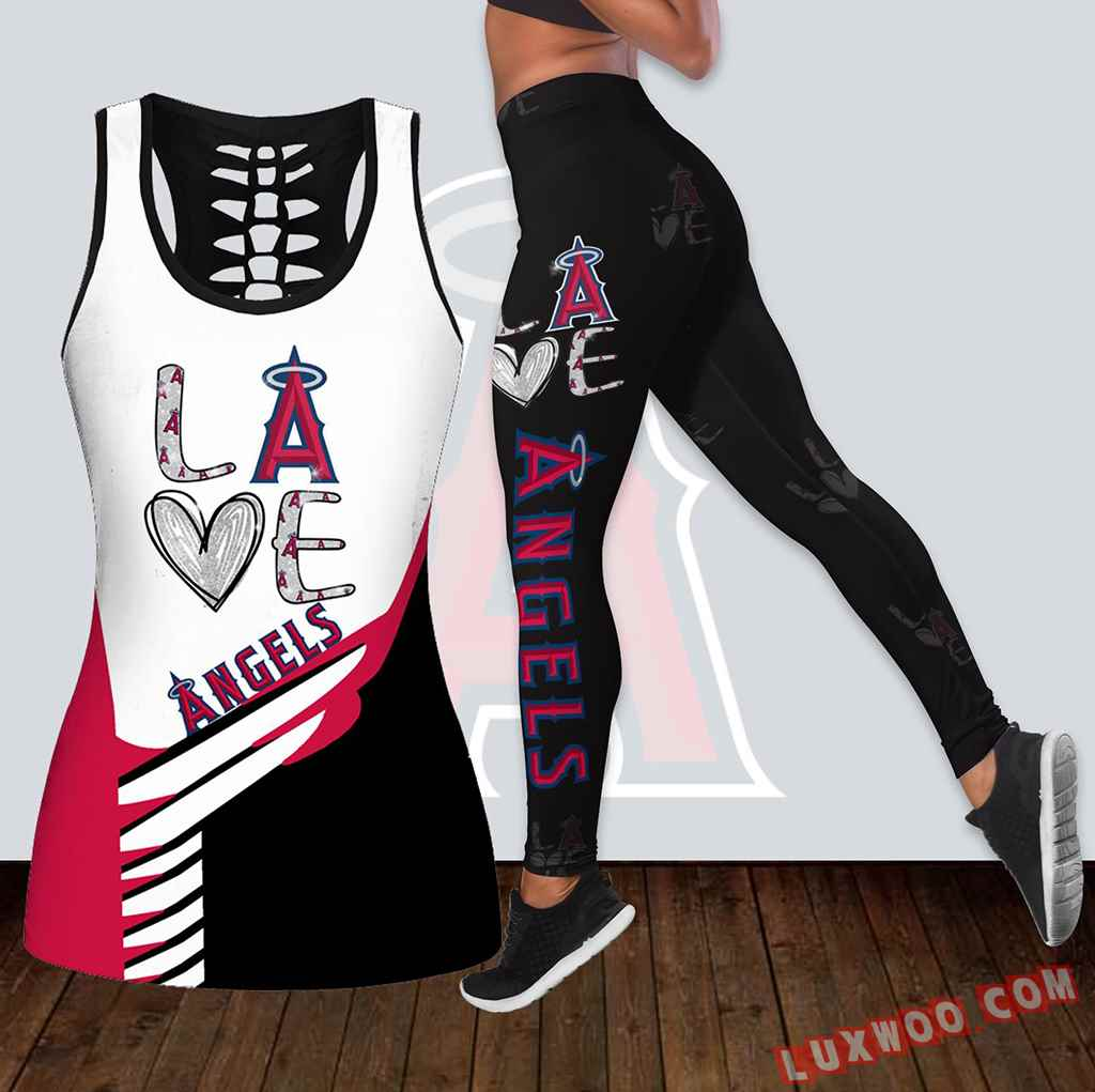Combo Los Angeles Angels Love Hollow Tanktop Legging Set Outfit K1834