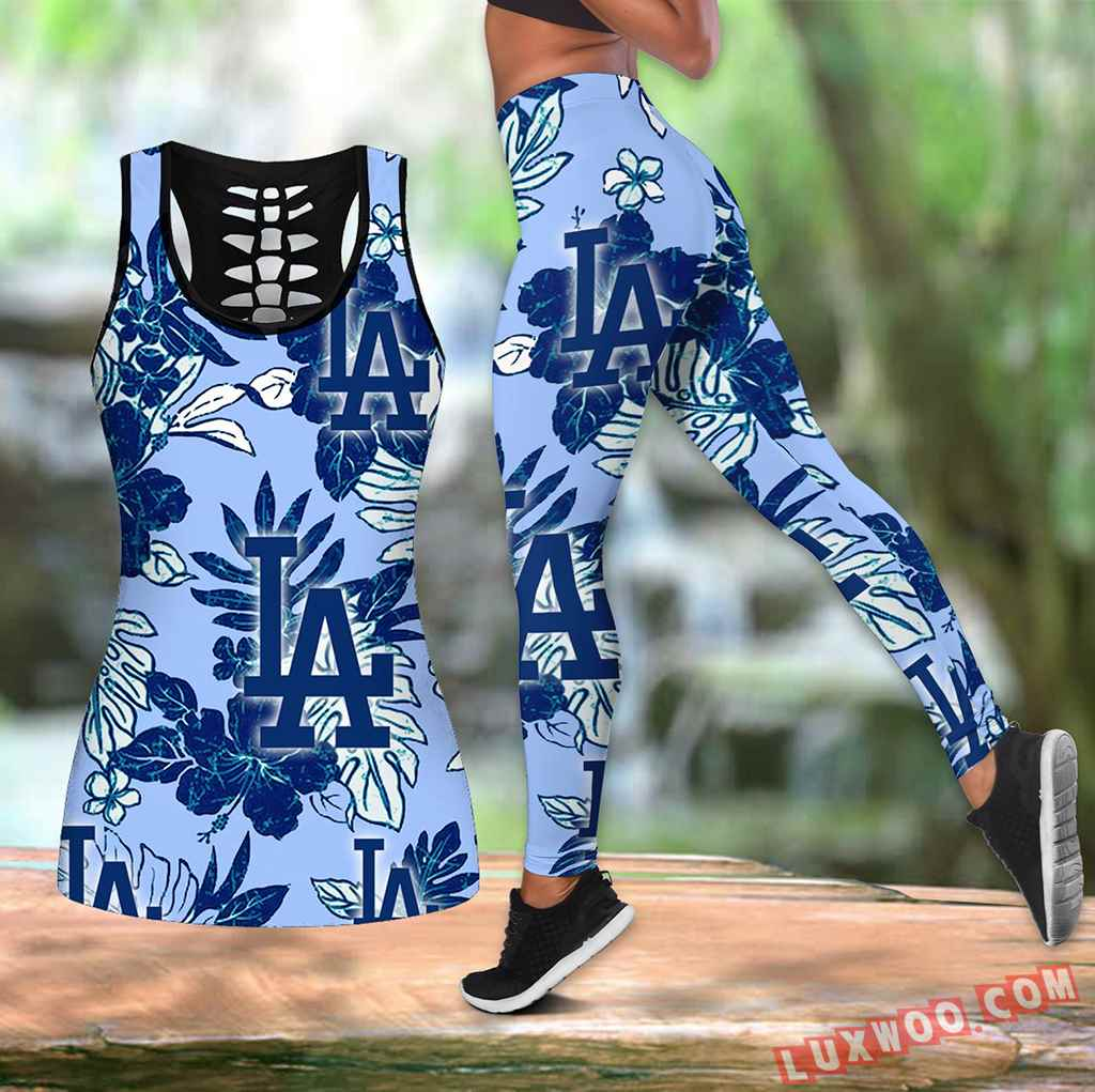 Combo Los Angeles Dodgers Hawaiian Tropical Flower Hollow Tanktop Legging Set Outfit V1583