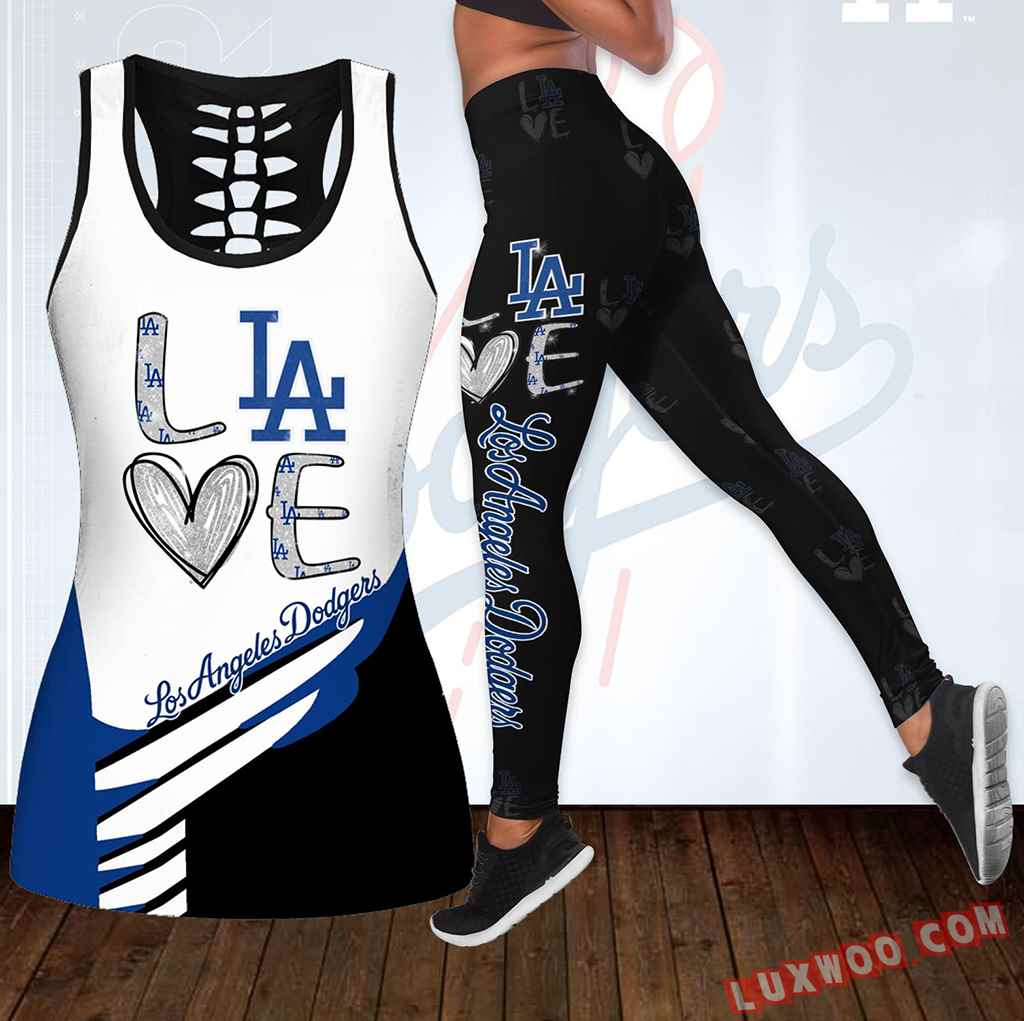 Combo Los Angeles Dodgers Love Hollow Tanktop Legging Set Outfit K1892