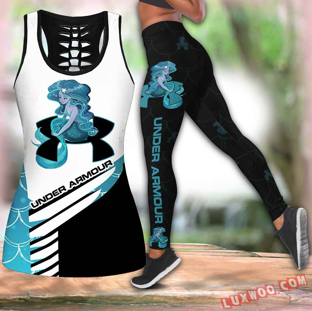 Combo Mermaid Under Armour Hollow Tanktop Legging Set Outfit V1649