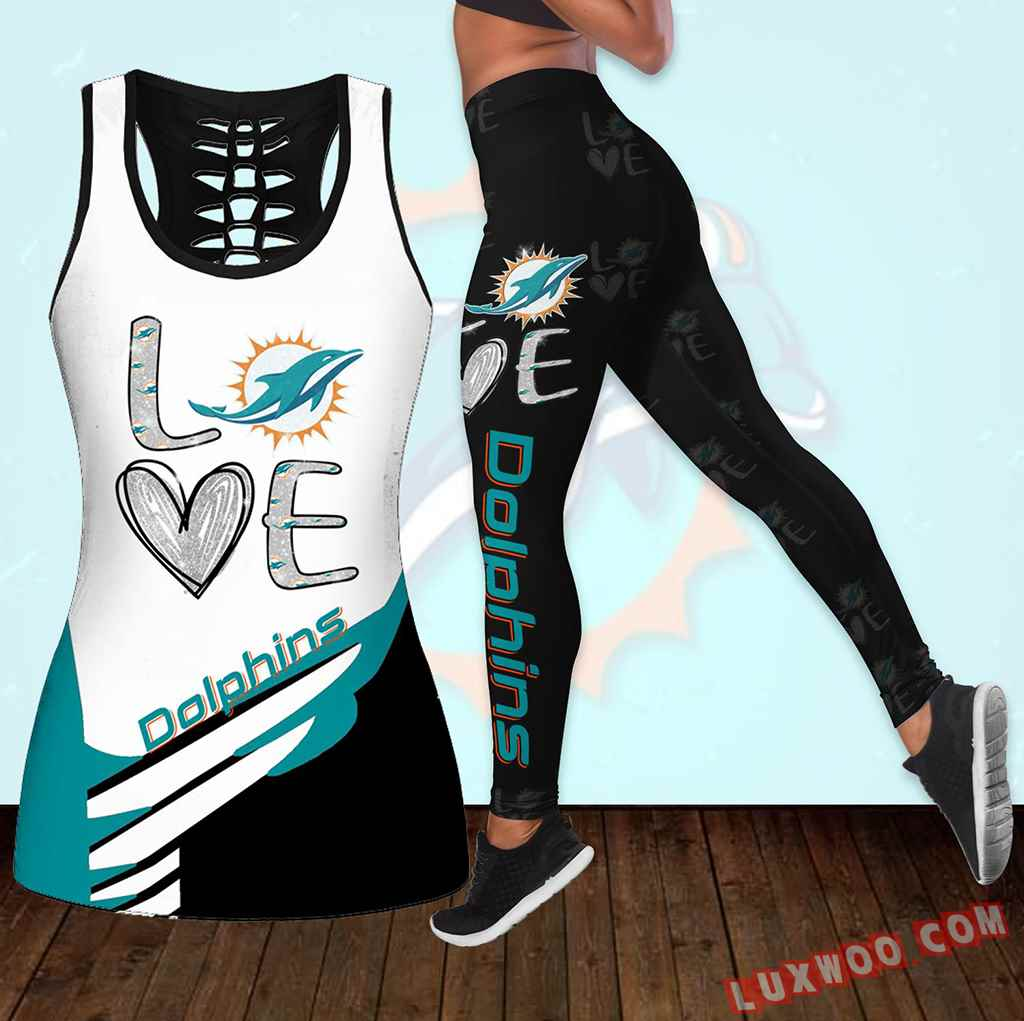 Combo Miami Dolphins Love Hollow Tanktop Legging Set Outfit K1914