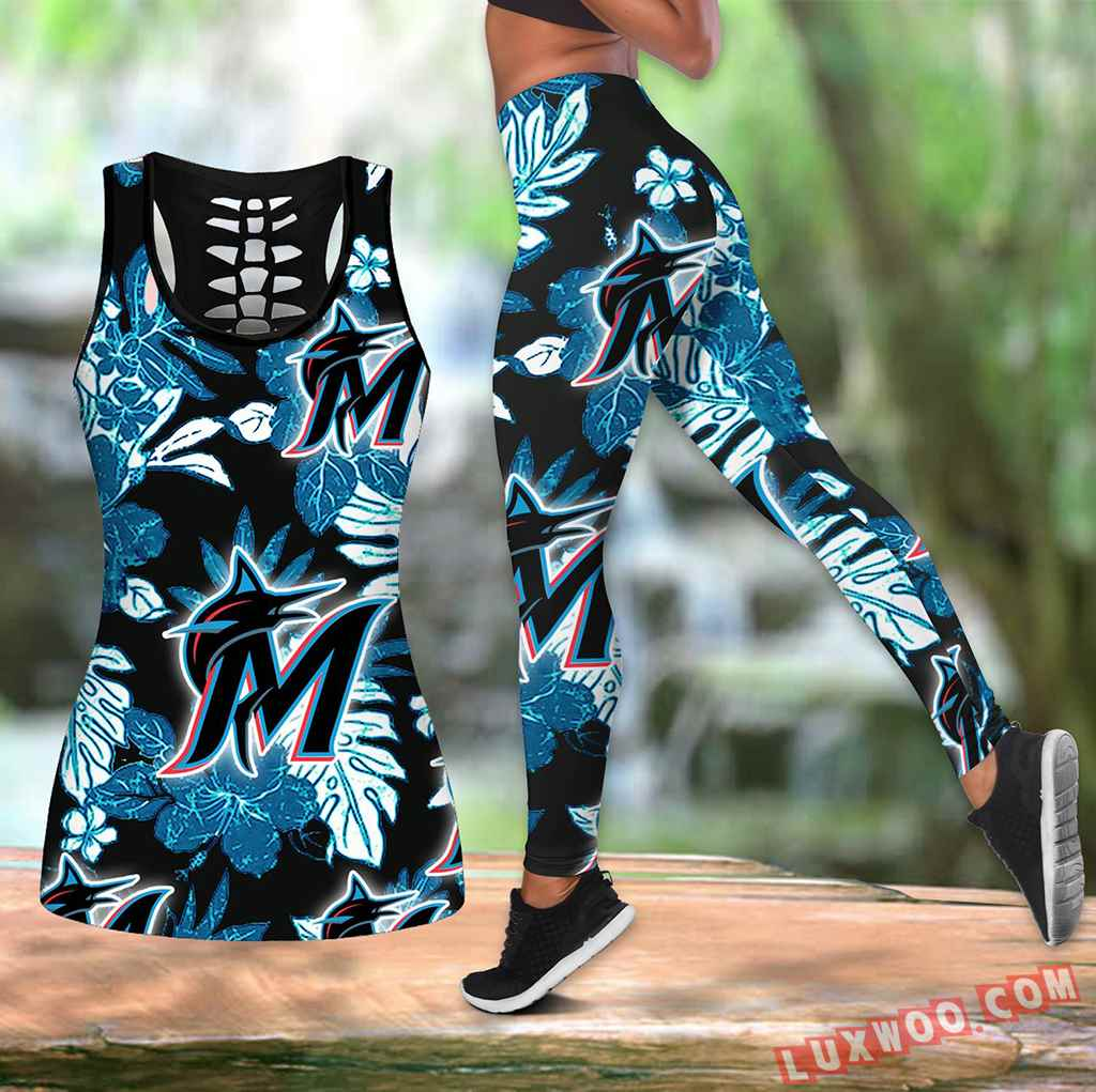 Combo Miami Marlins Hawaiian Tropical Flower Hollow Tanktop Legging Set Outfit K1566