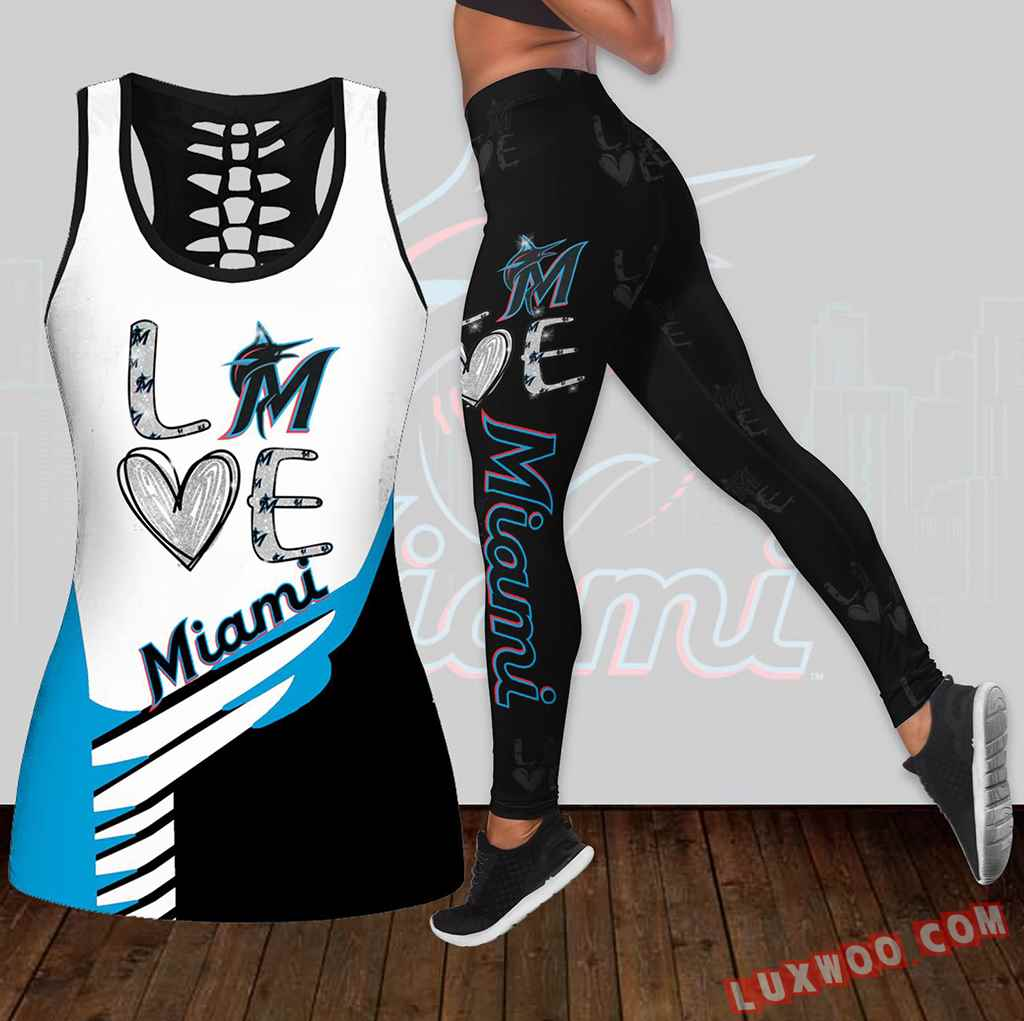Combo Miami Marlins Love Hollow Tanktop Legging Set Outfit K1898