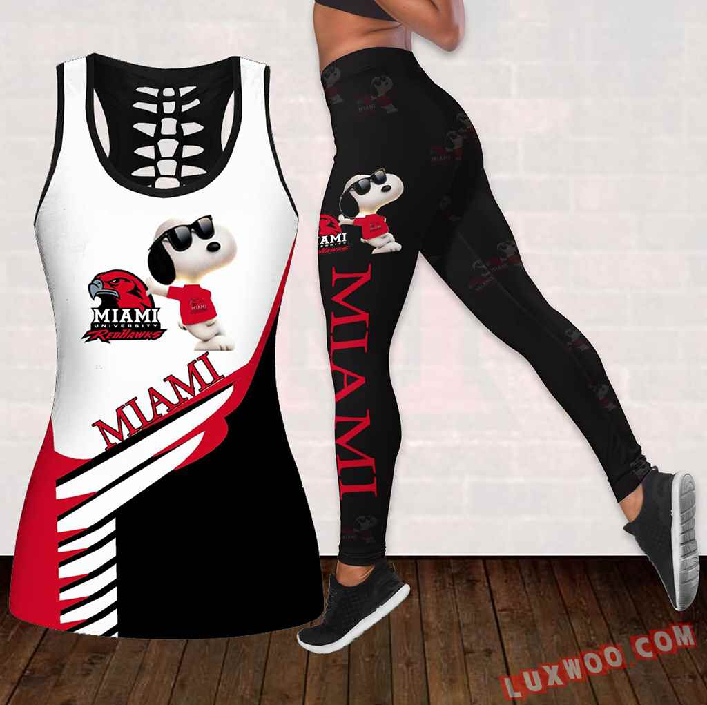 Combo Miami Oh Redhawks Snoopy Hollow Tanktop Legging Set Outfit K1803