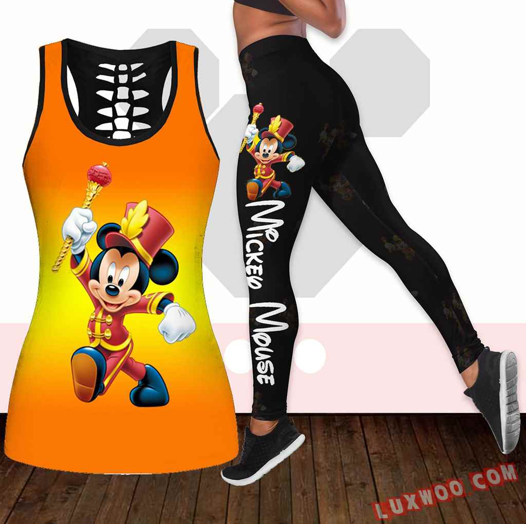 Combo Mickey Mouse Hollow Tanktop Legging Set Outfit K1921