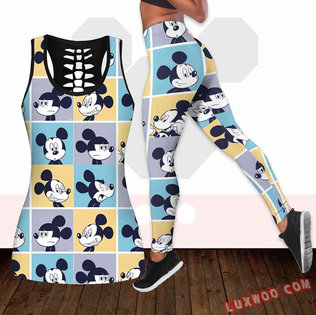 Combo Mickey Mouse Hollow Tanktop Legging Set Outfit K1929