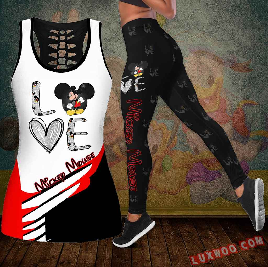 Combo Mickey Mouse Love Hollow Tanktop Legging Set Outfit K1942