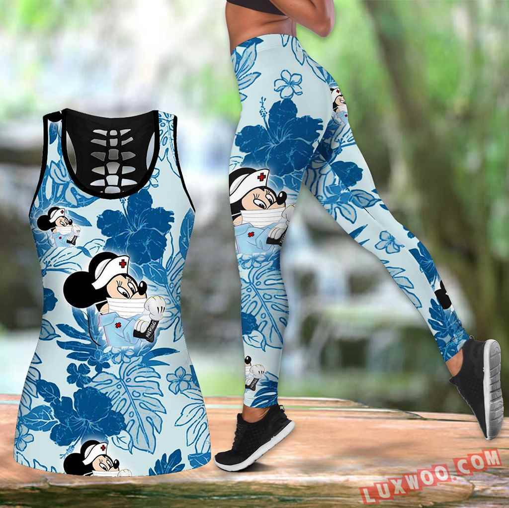Combo Mickey Mouse Nurse Blue Hawaiian Tropical Flower Hollow Tanktop Legging Set Outfit K1572