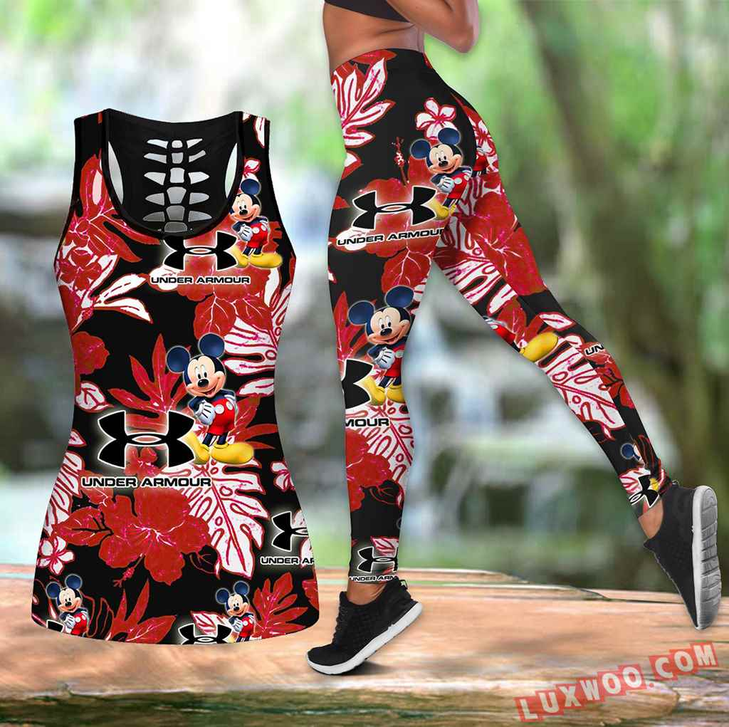 Combo Mickey Mouse Unde Armour Hawaiian Tropical Flower Hollow Tanktop Legging Set Outfit K1568
