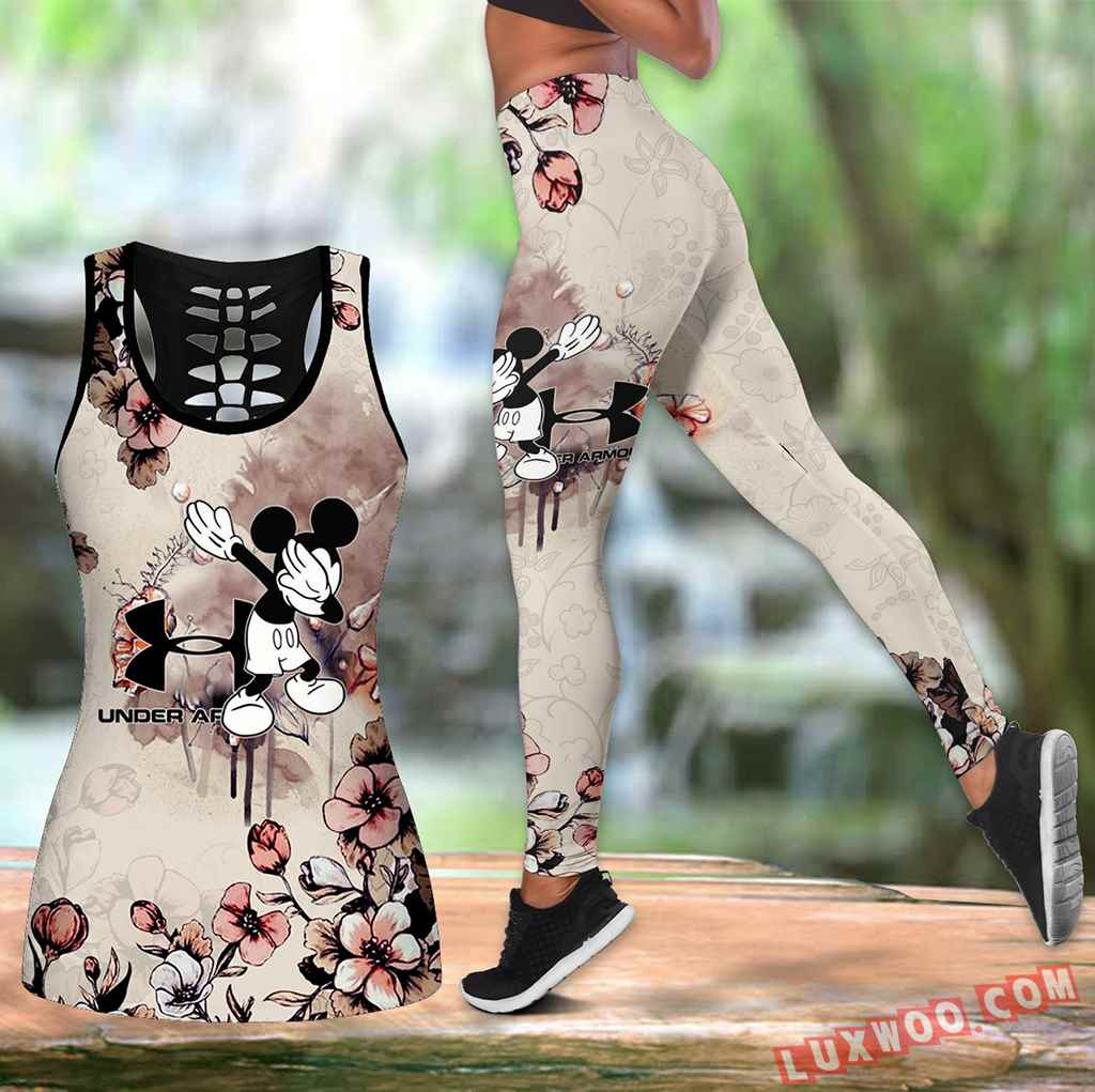 Combo Mickey Mouse Under Armour Flower Hollow Tanktop Legging Set Outfit K1559