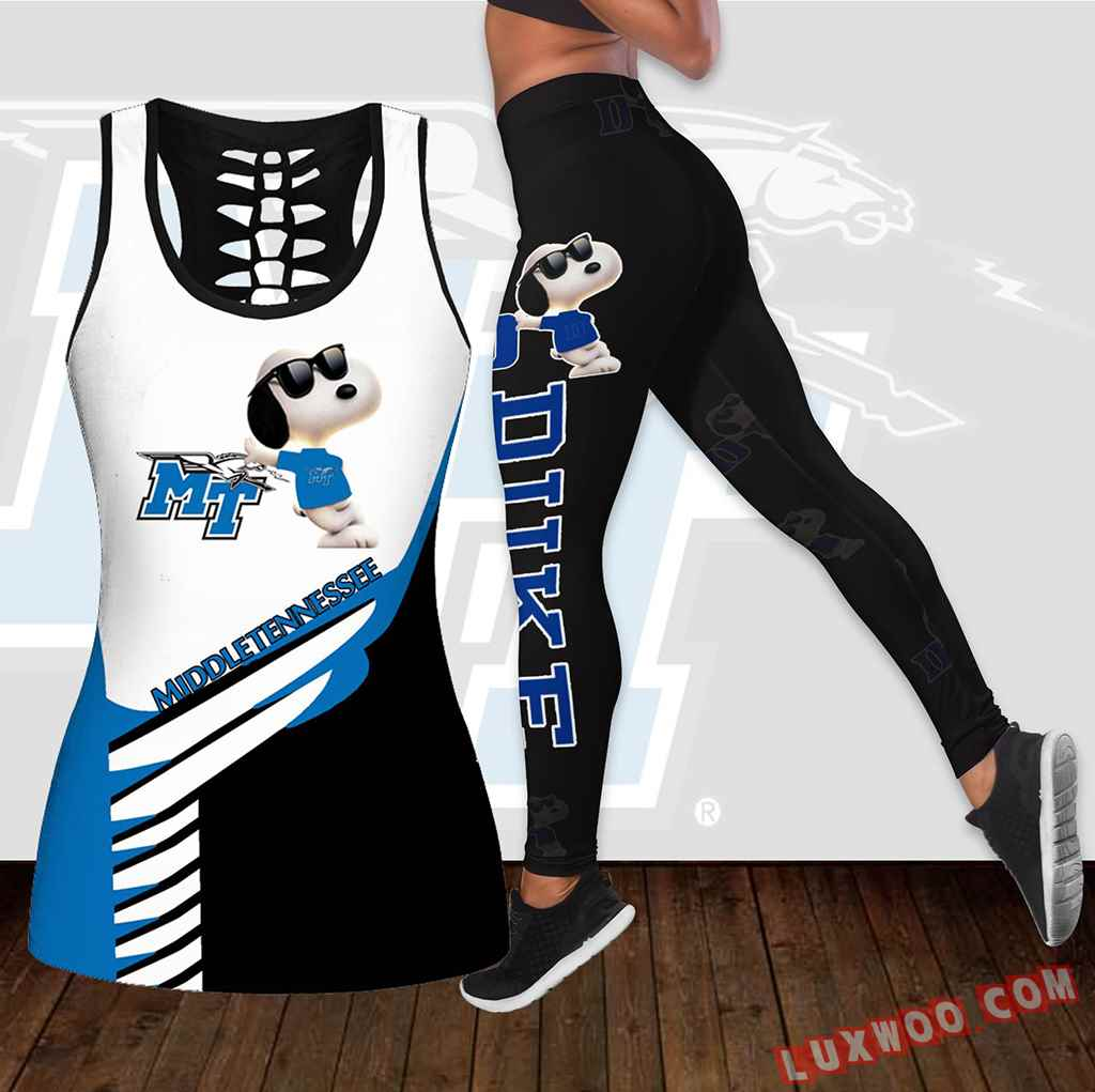 Combo Middle Tennessee Blue Raiders Snoopy Hollow Tanktop Legging Set Outfit K1846