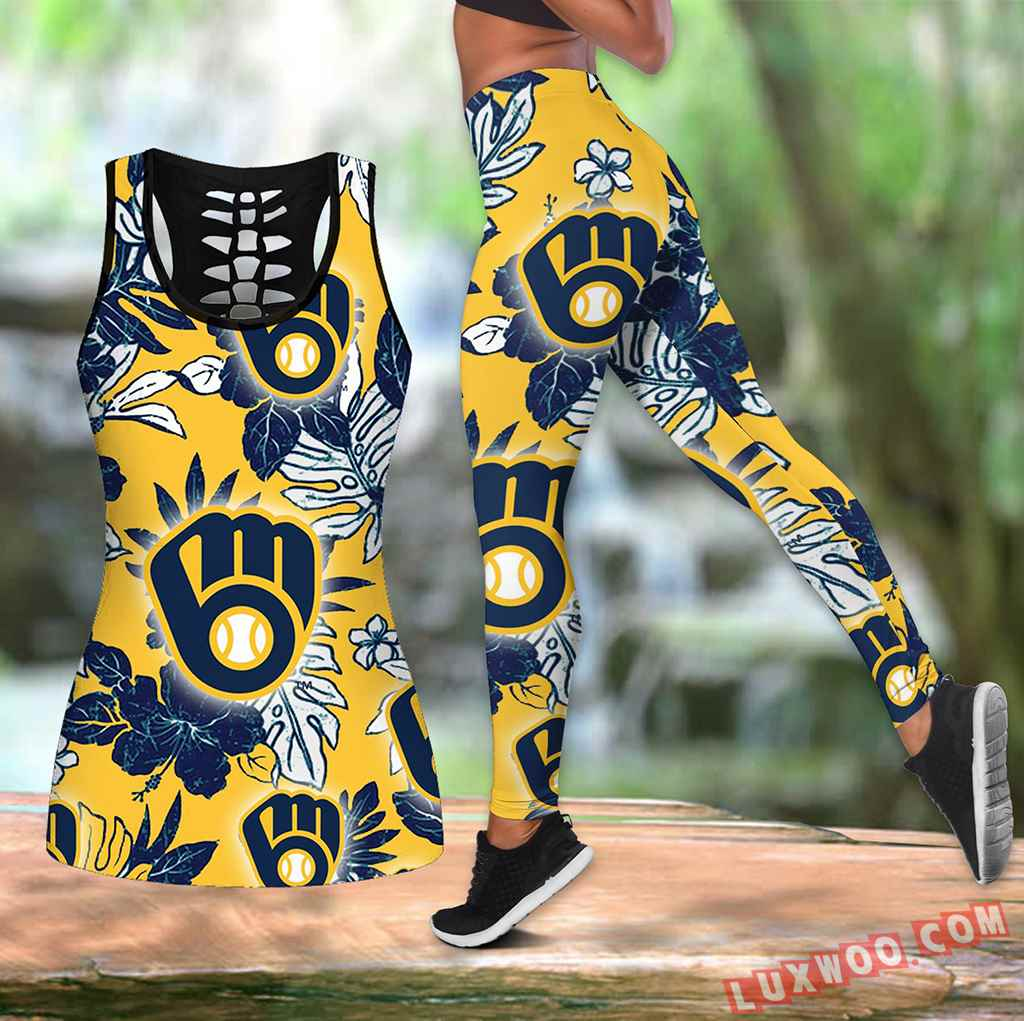 Combo Milwaukee Brewers Hawaiian Tropical Flower Hollow Tanktop Legging Set Outfit K1555