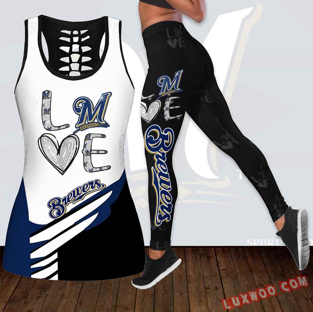 Combo Milwaukee Brewers Love Hollow Tanktop Legging Set Outfit K1890