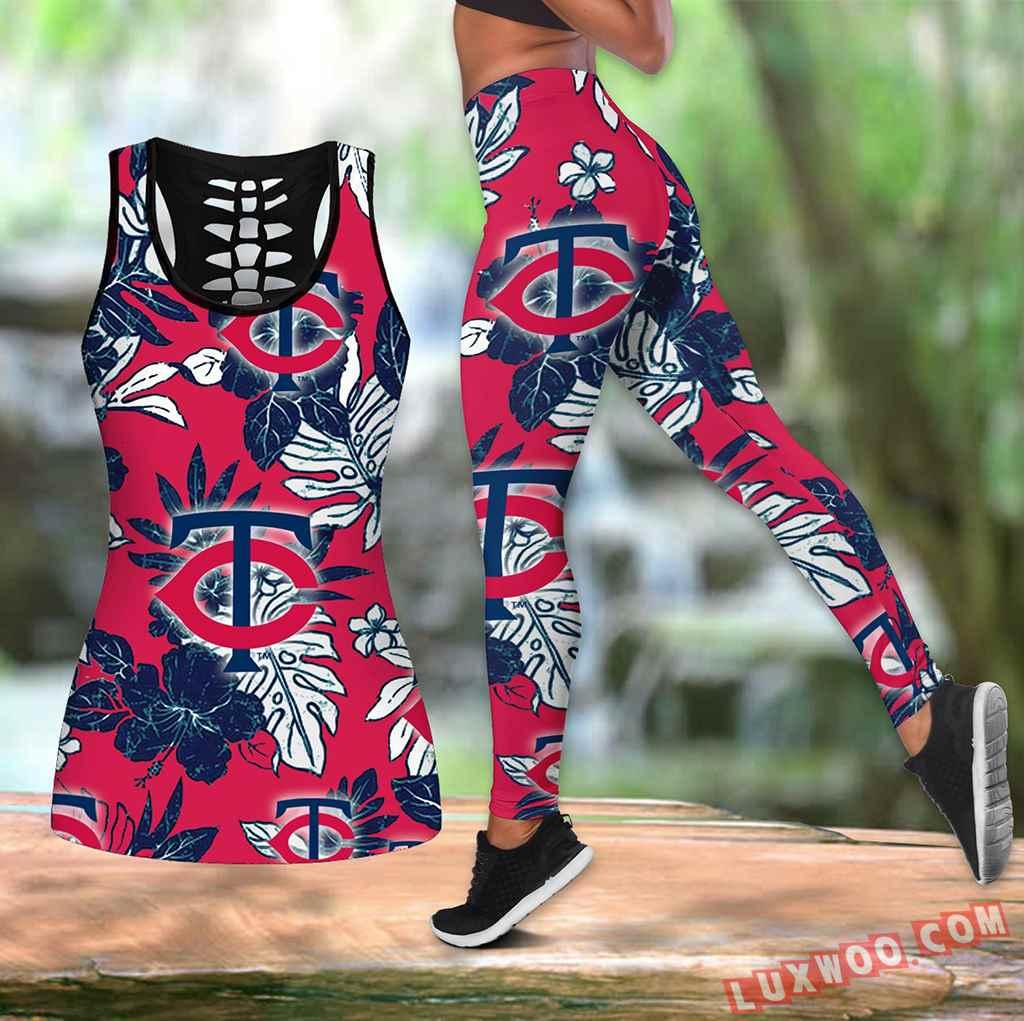 Combo Minnesota Twins Hawaiian Tropical Flower Hollow Tanktop Legging Set Outfit K1549
